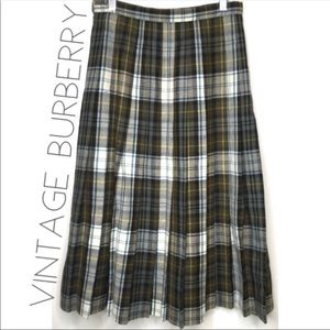Vintage Burberry wool pleated plaid skirt 6 S
